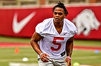 Arkansas running back Rakeem Boyd is shown during a July 2020 workout in Fayetteville.