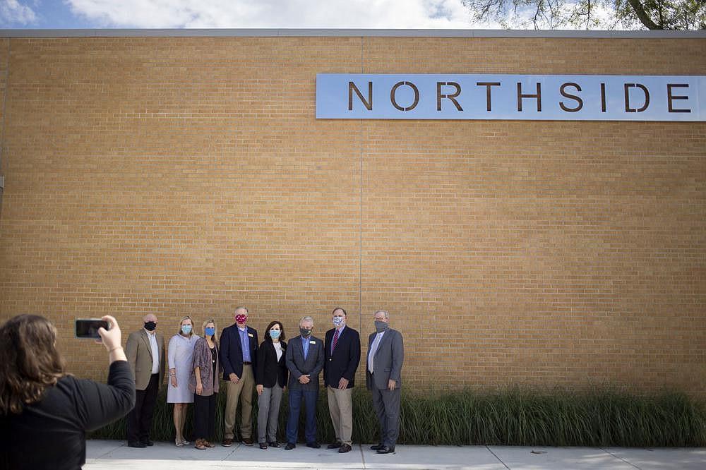 Rogers school board members take a photograph Friday with Sen. John Boozman R-Ark. at Northside Elementary School in Rogers.  (NWA Democrat-Gazette/Charlie Kaijo)