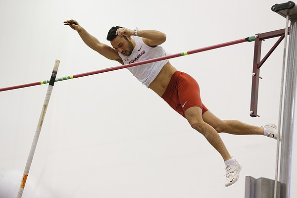 Etamar Bhastekar competes in the pole vault during the 2020 season. Bhastekar, originally from Israel, transferred from UTEP last season and competes in the pole vault and heptathlon. (Photo courtesy the University of Arkansas athletics department.)