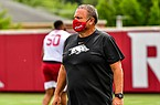 Arkansas football coach Sam Pittman is shown during a July 2020 workout in Fayetteville.