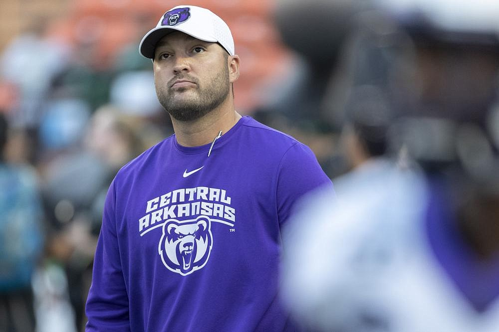 Central Arkansas Coach Nathan Brown is shown in this AP file photo.