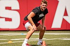 Arkansas linebacker Bumper Pool is shown during a July 2020 workout in Fayetteville.