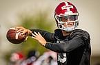 Arkansas quarterback Feleipe Franks throws a pass during practice Monday, Aug. 17, 2020, in Fayetteville.