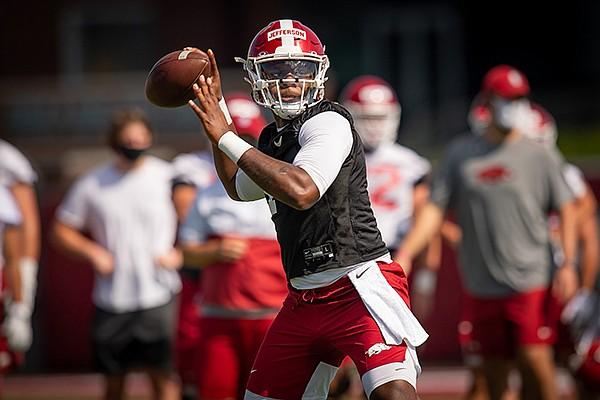 Arkansas quarterback KJ Jefferson throws a pass during practice Monday, Aug. 17, 2020, in Fayetteville.