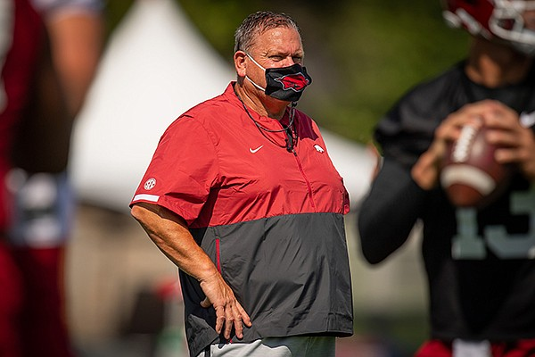 Arkansas football coach Sam Pittman is shown during practice Monday, Aug. 17, 2020, in Fayetteville.