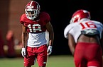 Arkansas defensive back Myles Mason (18) is shown during practice Friday, Aug. 21, 2020, in Fayetteville.