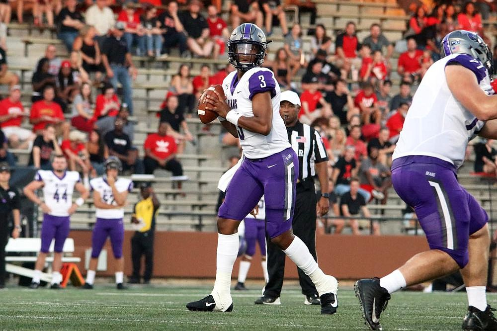 Quarterback Breylin Smith (3) was offered his first scholarship at age 14 by Central Arkansas, where he is now the starter. (Photo courtesy of the University of Central Arkansas)