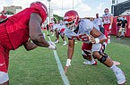 Arkansas offensive lineman Myron Cunningham is shown during practice Monday, Aug. 24, 2020, in Fayetteville.