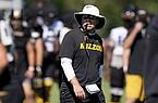 Missouri head coach Eliah Drinkwitz prepares to blow a whistle during an NCAA college football practice Wednesday, Aug. 19, 2020, in Columbia, Mo. (AP Photo/Jeff Roberson)