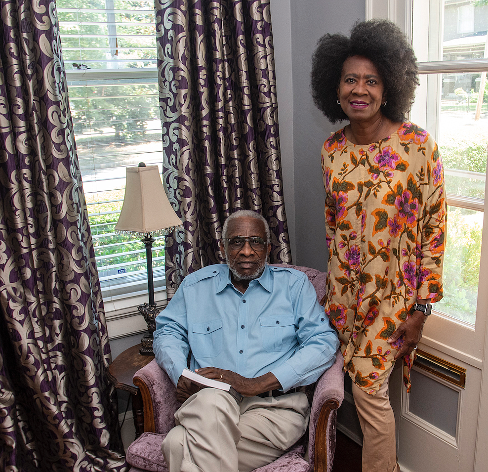 """Retired Appellate Court Judge Olly Neal Jr. and his wife, Karen Buchanan, pose in their Little Rock home earlier this month. Neal's book, """"Outspoken: The Olly Neal Story,"""" was published in May by Butler Center Books.(Arkansas Democrat-Gazette/Cary Jenkins)"""