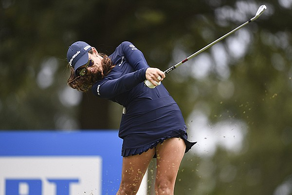 Maria Fassi tees off during the LPGA Northwest Arkansas Championship on Saturday, Aug. 29, 2020, at Pinnacle Country Club in Rogers.