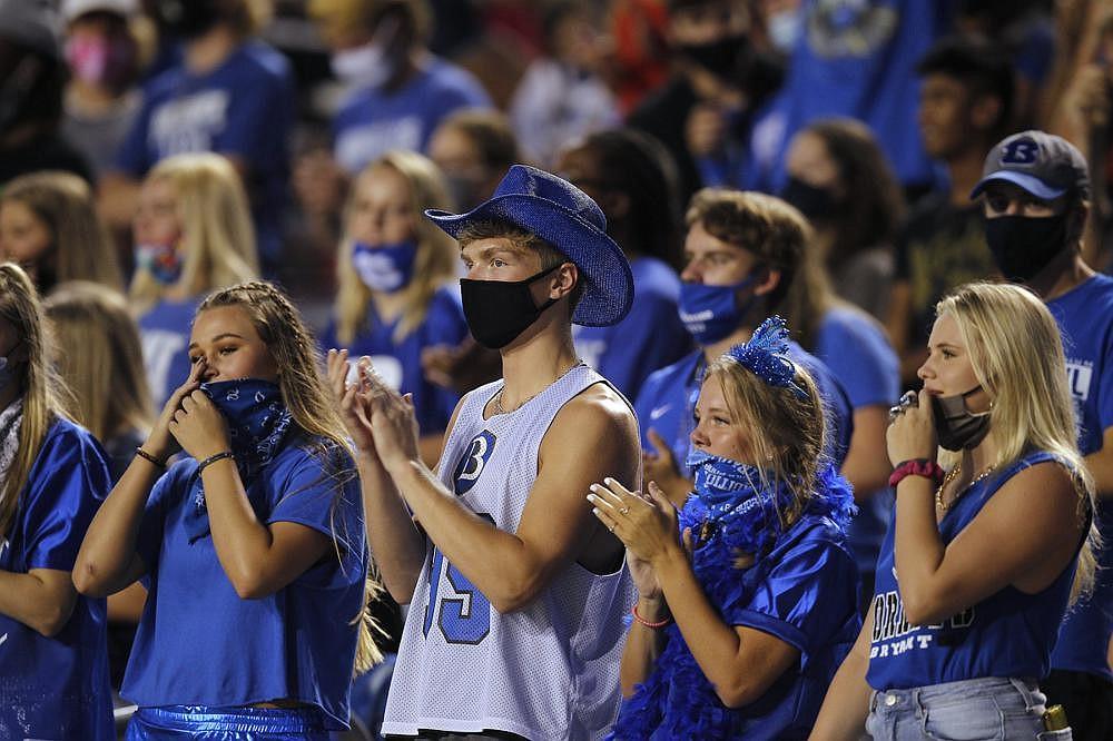 Bryant fans cheer during the first quarter. See more photos at arkansasonline.com/830salt/ (Arkansas Democrat-Gazette/Thomas Metthe)