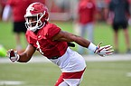 Arkansas safety Jalen Catalon is shown during practice Monday, Aug. 31, 2020, in Fayetteville.