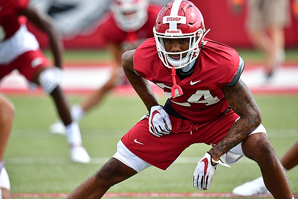 Arkansas defensive back LaDarrius Bishop is shown during practice Monday, Aug. 31, 2020, in Fayetteville.