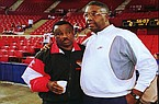 Arkansas coach Nolan Richardson (left) and Georgetown coach John Thompson are shown prior to practice Thursday, March 17, 1994, at Myriad Arena in Oklahoma City. The Razorbacks defeated the Hoyas 85-73 three days later in the second round of the NCAA Tournament.
