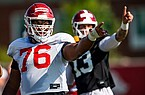 Arkansas offensive tackle Myron Cunningham (76) is shown during practice Friday, Aug. 28, 2020, in Fayetteville.