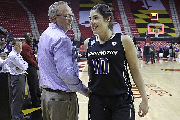 Washington head coach Mike Neighbors, left, chats with guard Kelsey Plum as she walks off the court after an NCAA college basketball game against Maryland in the second round of the NCAA tournament, Monday, March 21, 2016, in College Park, Md. (AP Photo/Patrick Semansky)