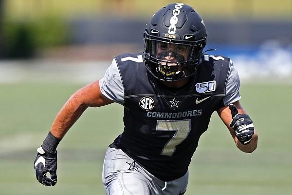 Vanderbilt linebacker Dimitri Moore (7) plays against Northern Illinois, Saturday, Sept. 28, 2019, in Nashville, Tenn. (AP Photo/Wade Payne)