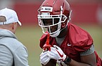 Arkansas receiver Shamar Nash takes part in a drill Friday, March 1, 2019, during practice at the university practice facility in Fayetteville.