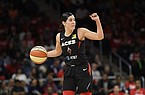 Las Vegas Aces guard Kelsey Plum dribbles the ball against the Washington Mystics during the second half of Game 2 of a WNBA playoff basketball series, Thursday, Sept. 19, 2019, in Washington. The Mystics won 103-91. (AP Photo/Nick Wass)