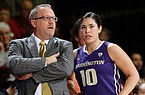 Washington coach Mike Neighbors, left, talks to guard Kelsey Plum during the first half of the team's NCAA college basketball game against Stanford on Friday, Jan. 29, 2016, in Stanford, Calif. (AP Photo/Marcio Jose Sanchez)