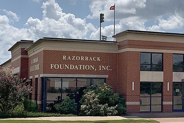 The exterior of the Razorback Foundation office is shown Saturday, Sept. 5, 2020, in Fayetteville.