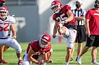 Arkansas kicker AJ Reed (35) watches a field goal attempt during a preseason practice on Sept. 4, 2020, in Fayetteville.