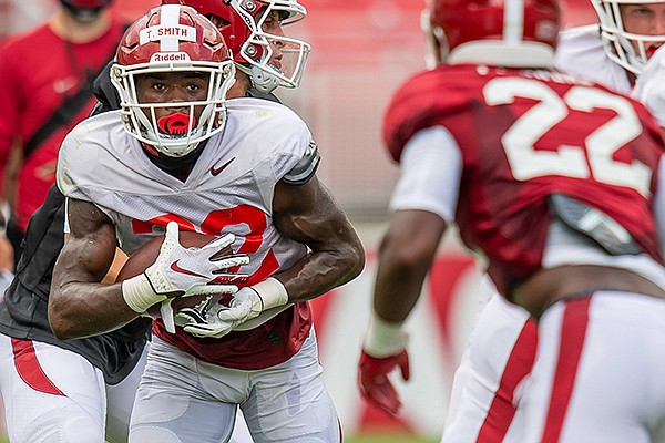 Arkansas running back Trelon Smith (22) is shown during a scrimmage Friday, Sept. 4, 2020, in Fayetteville.