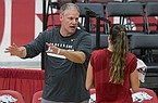 Arkansas volleyball coach Jason Watson is shown during practice Saturday, Aug. 11, 2018, in Fayetteville.