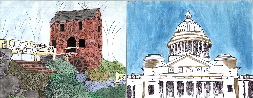 "Brooke Bitely of Pulaski Academy's drawing of the Old Mill in North Little Rock won won first place in the fifth- and sixth-grade art division in the Arkansas Historic Preservation Program's 29th annual ""Preserve Our Past"" Art & Essay Invitational. Ria Patel of Pulaski Academy in Little Rock took second place for a drawing of the State Capitol in Little Rock.
