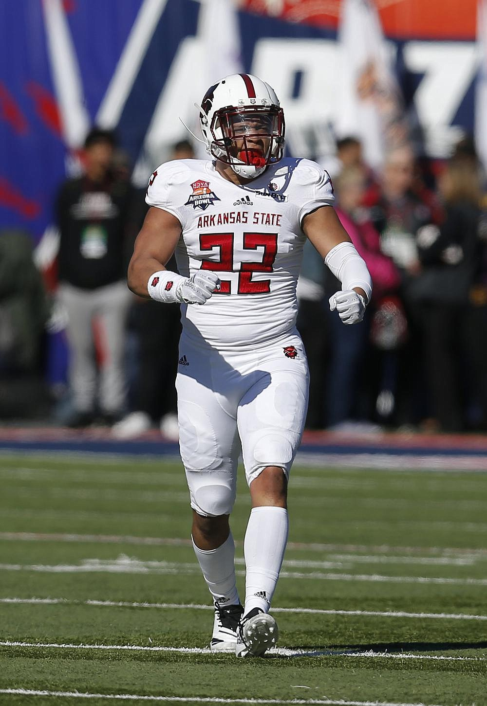 Arkansas State senior linebacker Caleb Bonner has shown an ability to play all three linebacker positions in the Red Wolves' scheme, providing ASU depth at each spot. (AP file photo)
