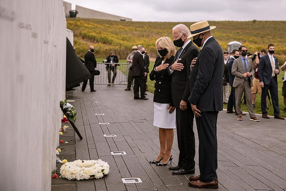 Democratic presidential nominee Joe Biden and his wife, Jill, visit the Flight 93 National Memorial in Shanksville, Pa. (The New York Times/Amr Alfiky)