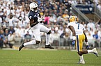 In this Sept. 14, 2019, file photo, Penn State wide receiver Justin Shorter (6) attempts to catch a pass as Pittsburgh defensive back Jazzee Stocker (7) defends during an NCAA college football game in State College, Pa. The former Penn State is eligible to play for No. 8 Florida this season. The Gators say the NCAA has granted Shorter's request to waive a one-year transfer rule. (AP Photo/Barry Reeger, File)
