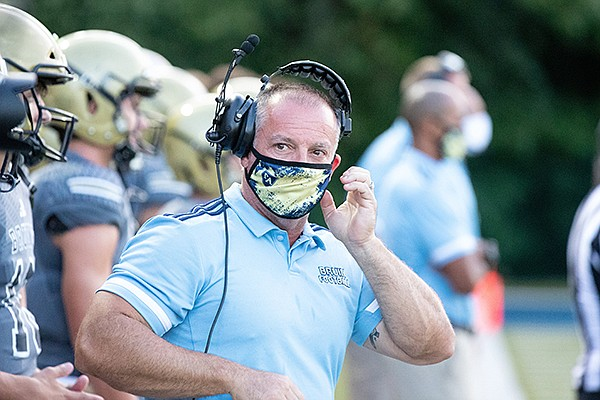 Pulaski Academy coach Kevin Kelley is shown on the sideline during a scrimmage against Bryant on Tuesday, Aug. 18, 2020, in Little Rock.