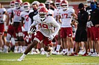 Arkansas receiver Tyson Morris runs with the ball during a preseason practice on Monday, September 14, 2020 at the Razorbacks practice field. Photo courtesy Arkansas communications.