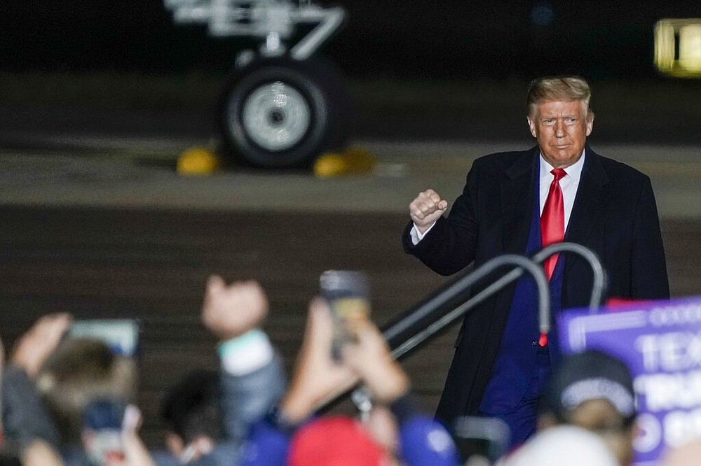 President Donald Trump arrives at a campaign rally at the Central Wisconsin Airport in Mosinee on Thursday, Sept. 17, 2020.
