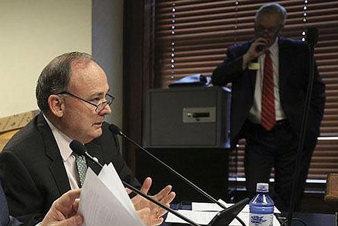 Sen. Ron Caldwell (left), R-Wynne, is shown in this file photo.  (Democrat-Gazette file photo)
