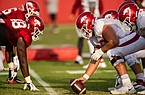 Arkansas football players line up before a play during a preseason practice on Sept. 15, 2020 in Fayetteville.