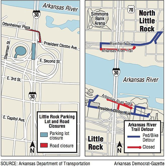 Maps showing I-30 crossing information