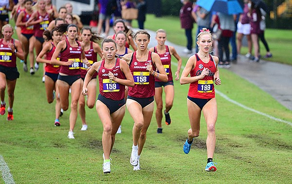 Arkansas runners Abby Gray (158) and Taylor Ewert (159) lead the pack during the SEC Preview meet on Saturday, Sept. 19, 2020, in Baton Rouge, La.