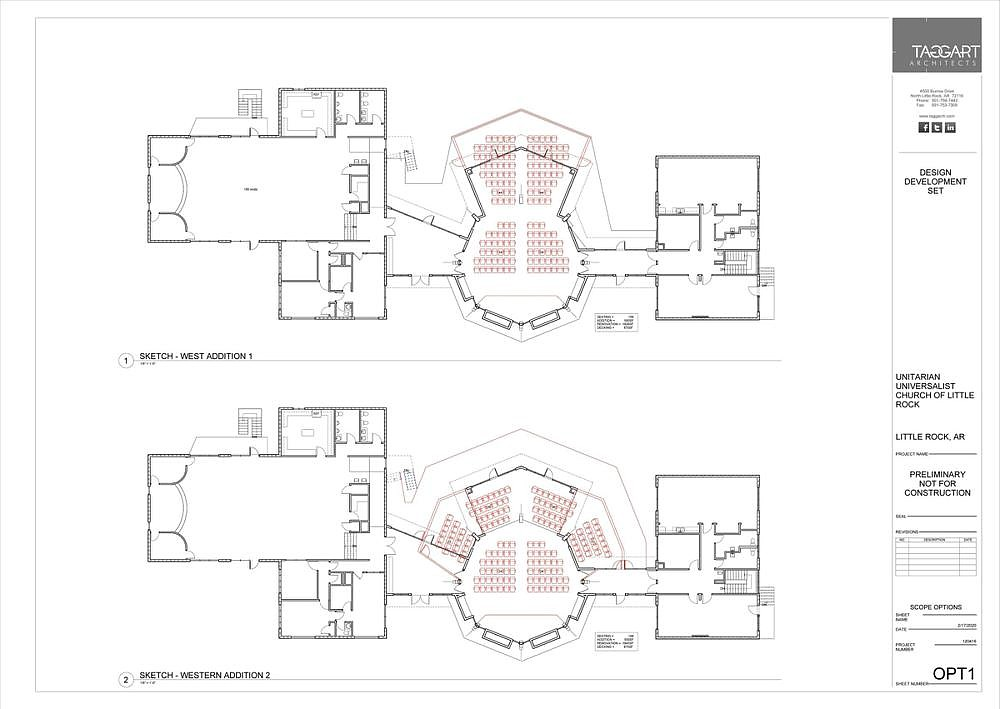 A print of the church's sanctuary comparing the seating layout of its sanctuary before (top) and after its expansion project, will be the church's first major improvement on the building since the 1980s.