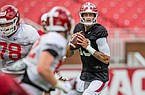 Feleipe Franks looks for a receiver during practice in this undated photo. Courtesy Arkansas communications.