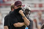 Missouri State head coach Bobby Petrino walks on the sidelines in the first half of an NCAA college football game against Oklahoma Saturday, Sept. 12, 2020, in Norman, Okla. (AP Photo/Sue Ogrocki)