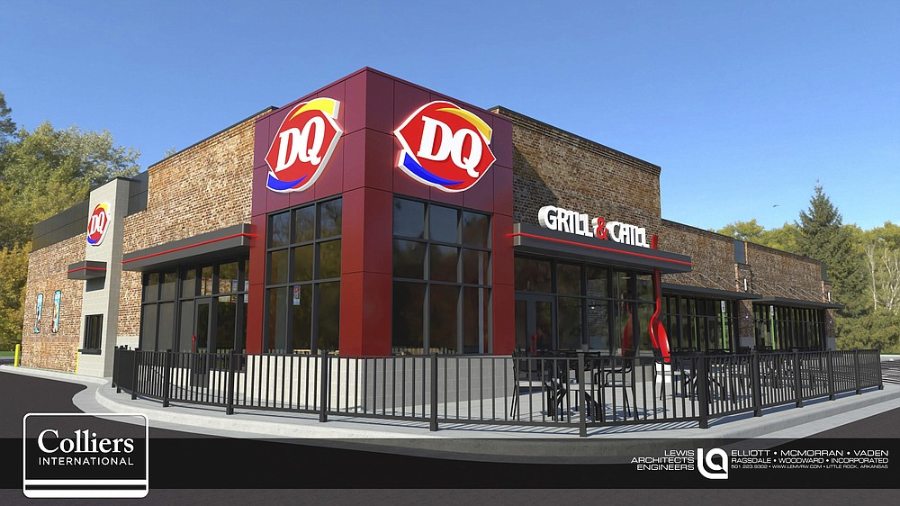 An architect's rendering shows the new-format DQ Grill & Chill planned for Cantrell Road and Chenal Parkway in Little Rock, opening sometime in early 2021.