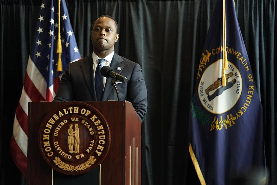 """""""I understand that as a Black man how painful this is … which is why it was so incredibly important to make sure that we did everything we possibly could to uncover every fact,"""" Kentucky Attorney General Daniel Cameron said Wednesday at a news conference in Frankfort. (The New York Times/Whitney Curtis)"""