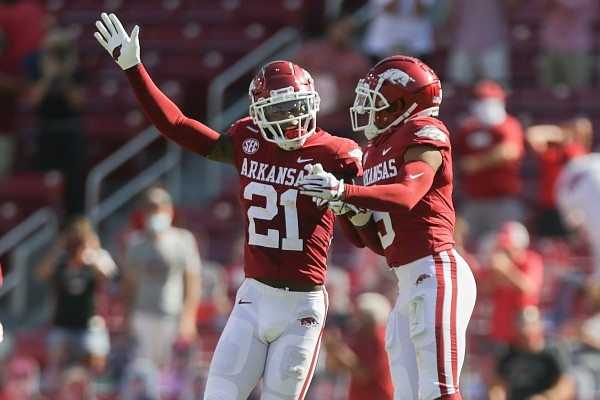 Arkansas defensive back Montaric Brown (21) reacts after intercepting the ball on Saturday, September 26, 2020 during the first half of a football game at Donald W. Reynolds Razorback Stadium in Fayetteville. Check out nwaonline.com/200927Daily/ for the photo gallery.