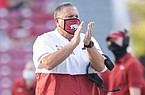 Arkansas head coach Sam Pittman reacts to a play on Saturday, September 26, 2020 during the second half of a football game at Donald W. Reynolds Razorback Stadium in Fayetteville. Check out nwaonline.com/200927Daily/ for the photo gallery.