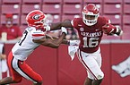 Arkansas wide receiver Treylon Burks (16) carries the ball after the catch on Saturday, September 26, 2020 during the second half of a football game at Donald W. Reynolds Razorback Stadium in Fayetteville. Check out nwaonline.com/200927Daily/ for the photo gallery.