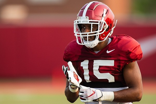 Arkansas defensive back Simeon Blair looks on during a play in a team practice on Sept. 19, 2020 in Fayetteville.