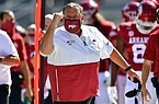 Arkansas football coach Sam Pittman reacts to a play during the Razorbacks' season opener against No. 4 Georgia on Sept. 26, 2020 in Fayetteville.